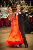 Competitors dancing slow waltz on the dance conquest — Foto de Stock