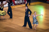 Competitors dancing latin dance on the conquest — Stok fotoğraf