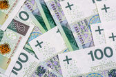Background of 100 PLN (polish zloty) banknotes — ストック写真