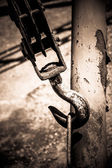 Old rusty hook in the harbour — Stock Photo