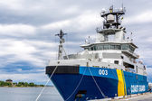 Swedish cost guard ship in Karlskrona sea port — Stock Photo