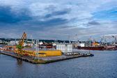 Vista do porto de cais e estaleiro de gdynia, polónia — Fotografia Stock