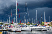 Yacht or motor boat at harbor moored at Karlskrona in Sweden — Stock Photo