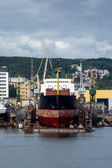 View of the quay port and shipyard of Gdynia, Poland — Stock Photo