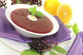 Healthy elderberries soup — Stock Photo