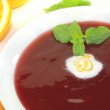 Elderberries soup with whipped cream — Stock Photo