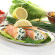 Stuffed salmon rolls — Stock Photo