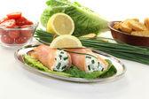 Stuffed salmon rolls — Stock Photo