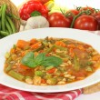 Minestrone with leeks — Stock Photo