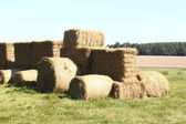 Tractor made of hay bales on a lawn — Stock Photo