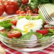 Salad with poached egg, onions and radishes — Stock Photo