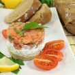 Freshly prepared salmon tartare — Stock Photo #18416217