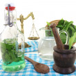 Wild garlic tincture with mortar — Stock Photo