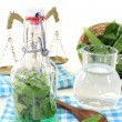 Wild garlic tincture with scale — Stock Photo