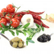 Tasty olives with olive twig — Stock Photo #27882919