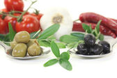 Olives with olive twig — Stock Photo