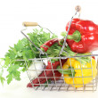 Shopping basket with vegetables — Stock Photo