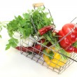 Shopping basket with fresh vegetables — Stock Photo