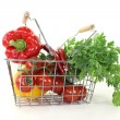 Shopping basket with crisp vegetables — Stock Photo