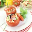Stuffed tomatoes with pasta salad — Stock Photo