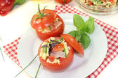 Tomatoes stuffed with pasta salad and cress — Stock Photo