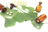 Ginkgo leaf with pharmacist bottle — Foto Stock