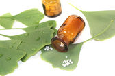 Ginkgo leaves with globules and pharmacist bottles — Stockfoto