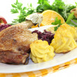 Duck leg with red cabbage — Stock Photo