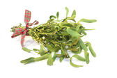 Mistletoe with berries and ribbon — Stock Photo