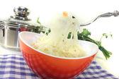 Fresh delicious Sauerkraut on a fork — Foto Stock