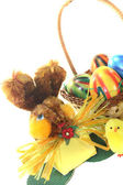 Easter Basket with chick, eggs and bunny — Stock Photo