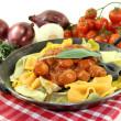 Pasta with sausage stew — Stock Photo #22317877