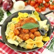 Pasta with sausage stew — Stock Photo