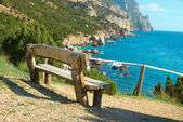 Bench with seaside view — Stock Photo