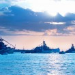 Row of military ships — Stock Photo