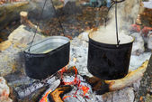 Two pots above the fire. — Stock Photo