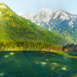 Green field and mountains  — Stock Photo