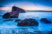 Západ slunce na pláži — Stock fotografie