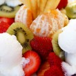 Fruit desert with cake and ice cream — Foto de Stock
