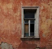 Old red wall with window — Stock Photo