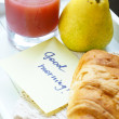 Healthy breakfast: pears and juice — Stock Photo