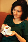 Woman and coffee — Stock Photo