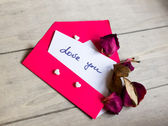 Love notes and envelope — Stok fotoğraf