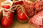 Red child shoes — Stock Photo