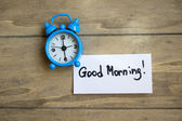 Old-styled clock and Good morning note — Stock Photo