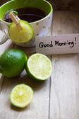 Tea and lime — Stock Photo