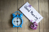 Good morning note and old-styled clock  — Stock Photo