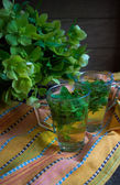 Chá de menta e lilás — Fotografia Stock