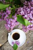 Eflatun çiçekler ve kahve — Stok fotoğraf