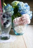 Blueberry juice  cocktail with ice — Stock Photo